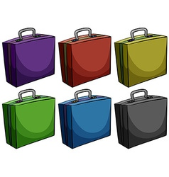 Briefcases in six colors vector
