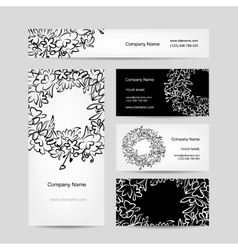 Business cards collection floral wreath design vector