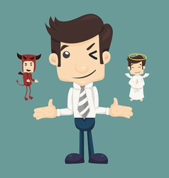 Businessman wills with devil and an angel vector