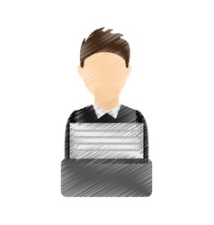 Businessman writing in typewrite machine vector