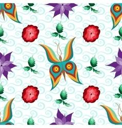 Butterfly Flower Garden Seamless Pattern vector image
