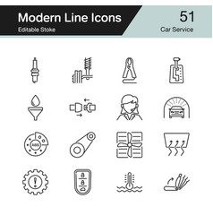 car service icons modern line design set 51 vector image