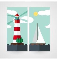 Card with red beacon on island and sailboat vector