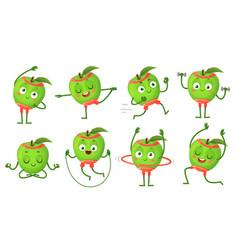 Cartoon apple character fitness doing gymnastics vector