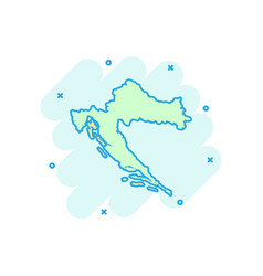 cartoon croatia map icon in comic style croatia vector image
