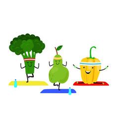 cartoon fruits do yoga exercise vector image