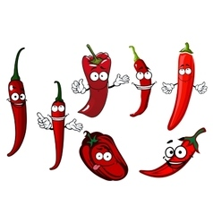 Cartoon red chilli and bell peppers vegetables vector