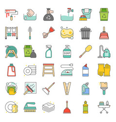 Cleaning and house keeping service icon set vector