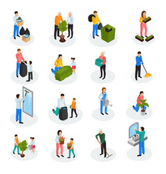 cleaning isometric icons vector image