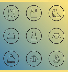 clothes icons line style set with skirt underwear vector image