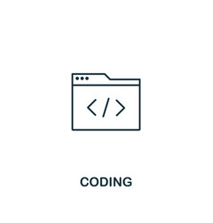 coding icon thin outline style design from design vector image