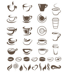 Coffee cups beans and steam shapes template vector