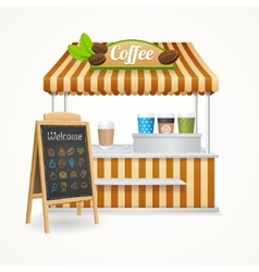 Coffee street market set vector
