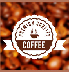 Cup of fresh hot coffee with scent label on the vector