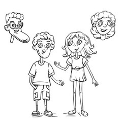 cute boy and girl drawn characters outline vector image