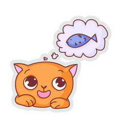 Cute cat hunger dreaming sticker isolated on white vector