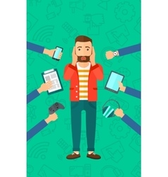 Desperate man with gadgets vector