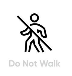 Do not walk epidemic icon editable line vector