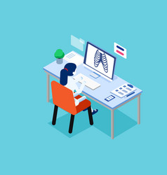 doctor at work concept isometric science style vector image