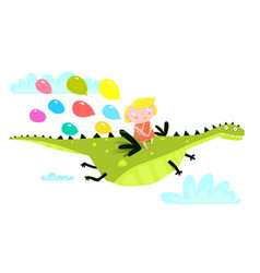 Dragon or dinosaur flying with girl and balloons vector