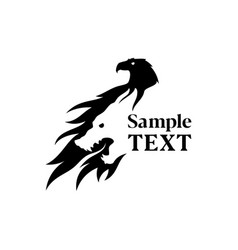eagle and wolf silhouette negative space icon vector image