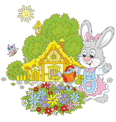 Easter bunny with flowers vector