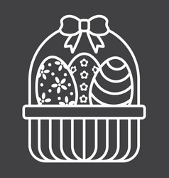 Easter eggs in basket line icon easter vector