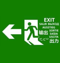 emergency exit sign in popular world languages vector image