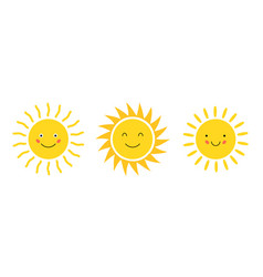 Emoji cartoon sun flat icon doodle vector