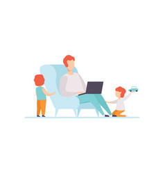 father working on laptop computer while sitting on vector image