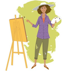 Female artist painting vector image
