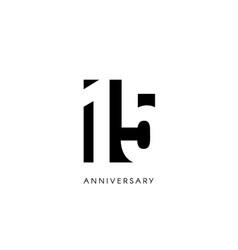 fifteen anniversary minimalistic logo fifteenth vector image
