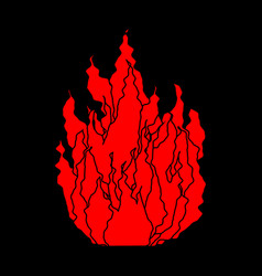 fire symbol isolated flame on black background vector image
