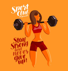 Fitness gym bodybuilding concept girl or young vector