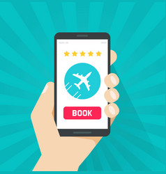 flight tickets online from smartphone vector image