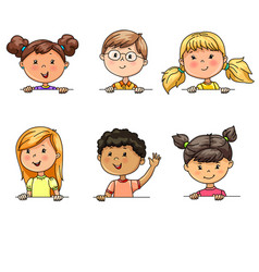 Funny portraits children different nationalities vector