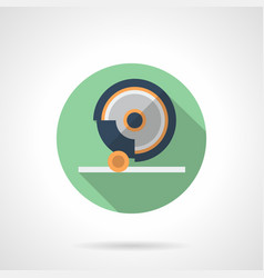 grinding machine flat green round icon vector image