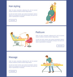 hair styling and hairstyle change poster vector image