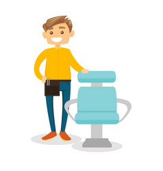 Hair stylist at workplace in the beauty saloon vector