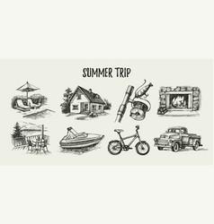 hand drawn vintage family vacation set sketch vector image