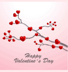 happy valentines day card with hearts tree vector image