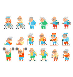 Healthy activities fitness granny grandfather vector