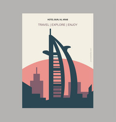 Hotel burj al arab dubai united arab emirates vector