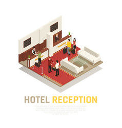 hotel reception isometric composition vector image