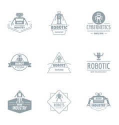 Industrial boom logo set simple style vector