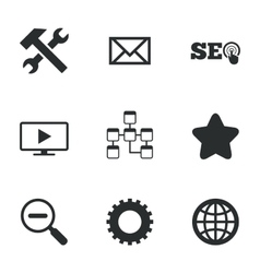 Internet seo icons Repair database and star vector image