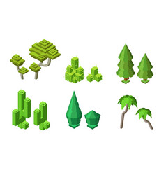 Isometric tree plants cactus bush set vector