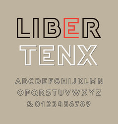 Linear font alphabet with latin letters and vector
