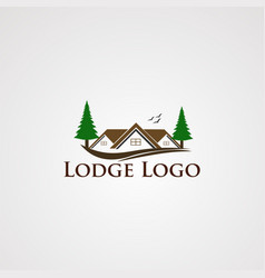 lodge logo with modern real estate and two tree vector image
