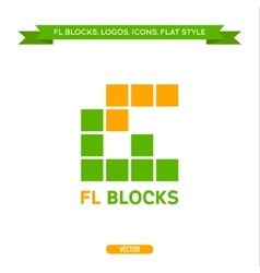 Logo letter FL in the form of blocks and cubes vector
